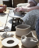 The potter during  jug molding Royalty Free Stock Photo