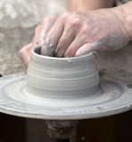 The potter during  jug molding Stock Photography