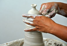 Potter make the traditional water storage containers a.k.a. Labu Sayong Royalty Free Stock Image