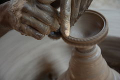 Potter makes earthen lamps or 'diyas' ahead of the forthcoming Diwali festival Royalty Free Stock Photo