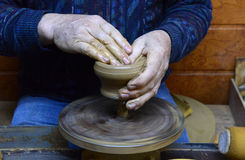 Potter makes a jug out of clay in Sofia, Bulgaria on Dec 10, 2015 Royalty Free Stock Photography