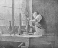 Potter makes a vase by Sauvage in the old book Catalogue Illustre, by L. Baschet, 1898, Paris