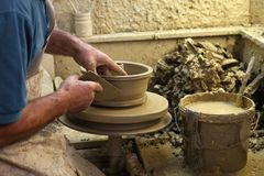 Potter making a earthenware Stock Photography