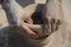Potter in making pot for ahead of Gangour festival in Rajasthan Bikaner Stock Images