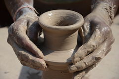 Potter in making pot for ahead of Gangour festival in Rajasthan Bikaner Stock Photos