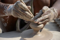 Potter in making pot for ahead of Gangour festival in Rajasthan Bikaner Stock Photography