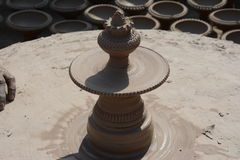 Potter in making pot for ahead of Gangour festival in Rajasthan Bikaner Royalty Free Stock Photography