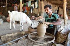 Indian Potter making pots , Ahmedabad royalty free stock image