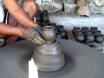Potter making Small Pots Royalty Free Stock Photography