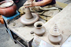 Potter man hands shaping ceramic craft Royalty Free Stock Photos