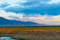 Potter Marsh. At sun set in the summer Stock Image