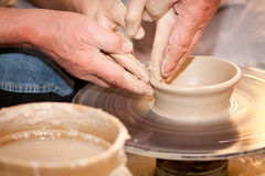 Potter on the potters wheel Stock Photo