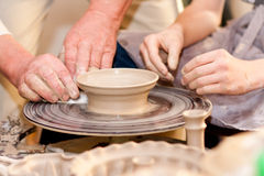 Potter on the potters wheel Royalty Free Stock Image