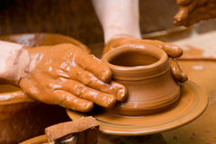 Potter's Hands Royalty Free Stock Photography