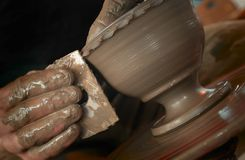 Potter's hands. At work Royalty Free Stock Images
