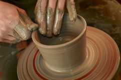 Potter's hands. At work Royalty Free Stock Photography