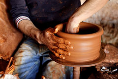 The potter's hands Royalty Free Stock Photos