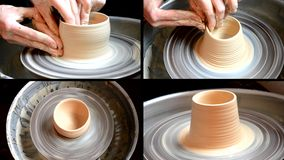 Potter`s work close-up. Modeling clay sculpture with hands on a rotating potter`s wheel. Handmade. Craft. Making ceramic products. Multicam split screen group stock video footage