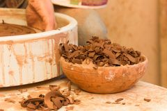 Utilized clay in a trash can. At the potter& x27;s workshop Stock Photography