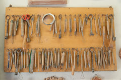 Potter tools. Tools used by Potters to model clay Stock Image