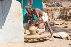 Potter in tribal rural village Stock Image