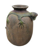 Potter vessel with lizard isolated. Royalty Free Stock Photos