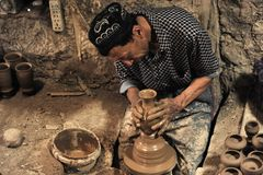 A potter was working royalty free stock image