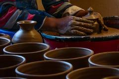 Potter at work, Jujuy, Argentina royalty free stock photo