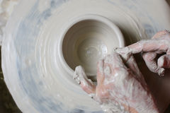 Potter working clay Stock Images