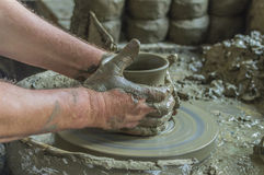 Potter working with clay Royalty Free Stock Photo