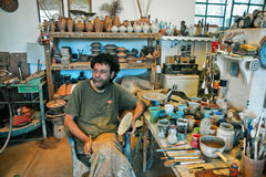 The potter in this workshop in Lefkes Paros Greece Stock Photo