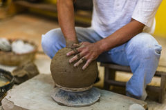 The potter in workshop. Royalty Free Stock Photo