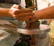 A potters hands royalty free stock photography