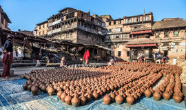 Potters Square, Bhaktapur, Nepal Royalty Free Stock Photography