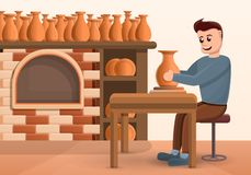 Potters wheel concept background, cartoon style stock illustration