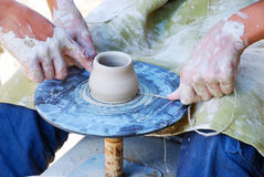 Potters working by the throwing wheel Stock Photos