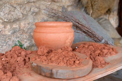 Pottery. Clay and pottery utensils in heritage workshop Stock Images