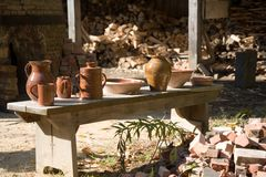 Pottery. At sturbridge village in ma Stock Photography
