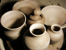 Pottery. Picture of a collection of several pots Royalty Free Stock Photos