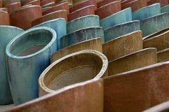 Pottery 2. A large display of colorful pottery stock photography