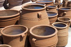 Pottery. Handmade pottery drying in manufacture Stock Photo