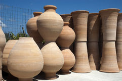 Pottery. Handmade pottery drying in manufacture Royalty Free Stock Photo