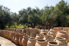 Pottery. Handmade pottery drying in manufacture Royalty Free Stock Photos