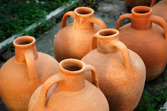 Pottery. Handmade pottery drying in manufacture Royalty Free Stock Image