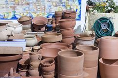 Pottery. Assortment of pottery in the Spainish town of Sorbas stock photos