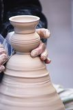 Pottery. Potter manufacturing a clay pottery in a French village Royalty Free Stock Photography