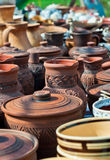 Pottery. Ukrainian traditional pots. Vinniza-Ukraine Royalty Free Stock Images