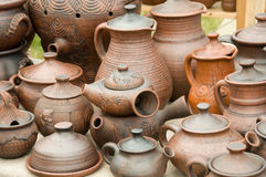 Pottery. Macro of a lot of pottery stuffes Royalty Free Stock Image