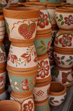 Pottery. Is the material from which the ware is made of which major types include earthenware, stoneware and porcelain Royalty Free Stock Photo