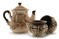 Pottery. Manual work of the Ukrainian handicraftsmen Stock Photos